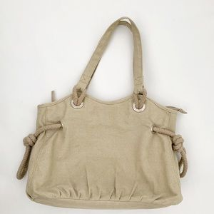 Roots Beige Canvas Medium Tote Zip GUC